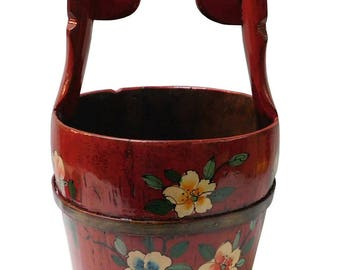 Handmade Traditional Chinese Red Color Floral Oval Wood Bucket n121E