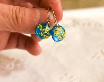 Summer Gift Jewelry Yellow Flowers;Resin Earrings;Dry Flower Earrings;Real Flower Earrings;Flower Earrings;Botanical Gifts;Resin Jewelry;