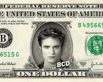 EDWARD CULLEN Robert Pattinson on a REAL Dollar Bill Twilight Cash Money Collectible Memorabilia