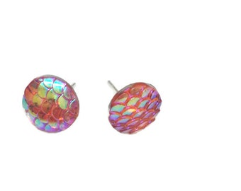 Mermaid Studs, Mermaid Scale earrings,Mermaid stud earrings, Dragon Scale earrings, Mermaid, Dragon, gifts for her, Girls studs peachy keen