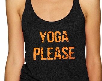 YOGA PLEASE - Ladies yoga activewear racer back Style 673 tank with small Logo