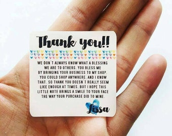 Thank you - Thank You Note Stickers or Cards Customizable