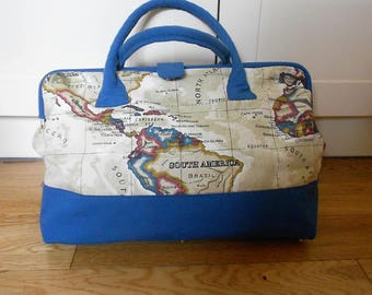 REDUCED Large Canvas Carpet Bag. 'Map' Travel Bag. Mary Poppins Bag.