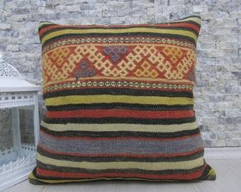 embroidery design handmade kilim pillow 20 x 20 bohemian throw pillow home decor ethnic pillow organic wool turkey pillow aztec pillow