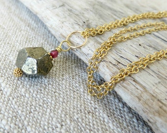 Pyrite Necklace, Geometric Jewelry, Mixed Metal Jewelry, Gold Chain Necklace, Small Pendant Necklace, Gifts for Girlfriend, Hipster Gift
