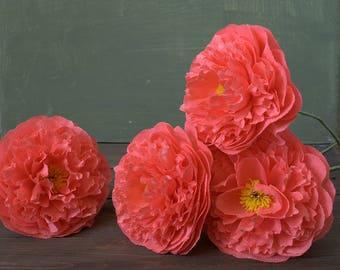 Paper peony bouquet, crepe paper flowers, paper wedding decorations