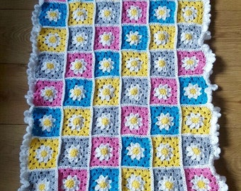 Crochet flower granny baby blanket.  *Ready to ship