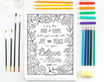 God of Hope, Coloring Page, Romans 15:13, Printable Coloring, Christian Coloring, Inspirational Coloring, Instant Digital Download