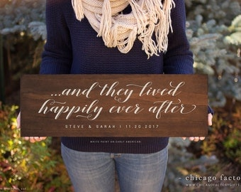 And They Lived Happily Ever After Sign, Happily Ever After Sign, Wood Sign Wooden Sign, Engagement Gift, Wedding Gift, Couples Gift (GP1088)