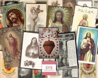 24 Vintage Holy Cards -  JESUS CHRIST - Digital Collage Sheet Printable download