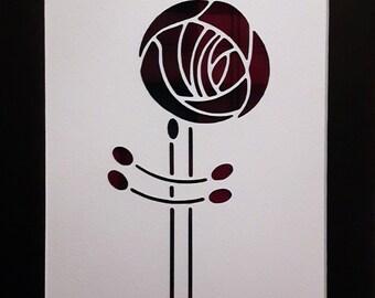 Charles Rennie MacKintosh Rose Thin Tartan Picture - Scottish Gift Art - Choose Your Tartan