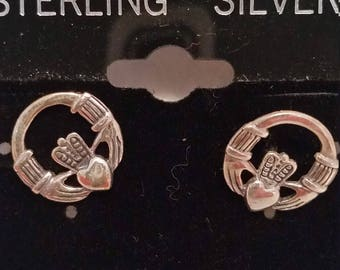 Sterling Silver Celtic Claddagh Post Earring
