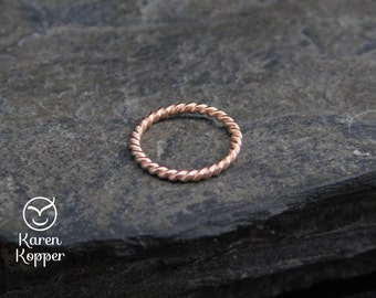 Twisted nose ring. 14k rose gold filled twisted wire. 18 gauge, Made at your size, ear ringlip ring, piercing.