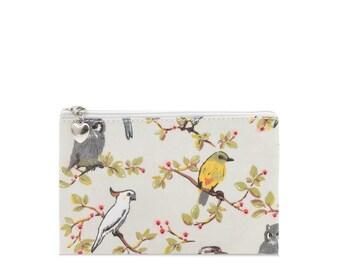 Oilcloth Zip Pouch- Australia bird Cockatoo- vegan Passport case- Oil cloth zip wallet- Coin purse- Ladies purse - Woman wallet- Travel card
