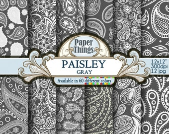 Gray Paisley Digital Paper, Gray Indian Paisley Digital Paper - Printable White and Gray Patterns for Downloadable Scrapbook Papers