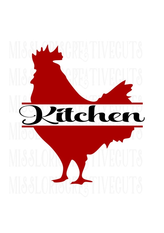 Kitchen Rooster Split Letter Dish Towel Design Svg Cut