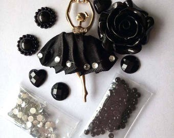Lady Ballerina  Dancer flatbacks mix pearls gems cabachon card making scrap booking