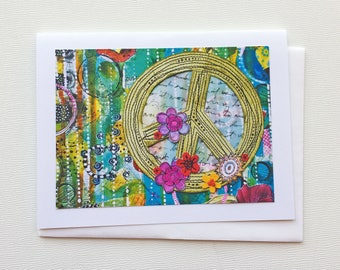 Peace Sign Note Card, Mixed Media Collage Print Blank Notecard, Handmade Gift for Her