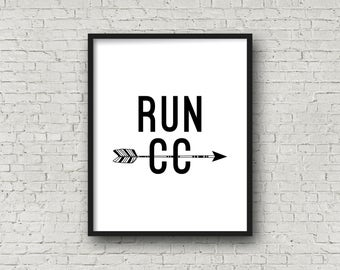 RUN CC, Running, Cross Country, Cross Country Gifts, Cross Country Running, Running Quotes, Motivational Wall Decor, Motivational Poster