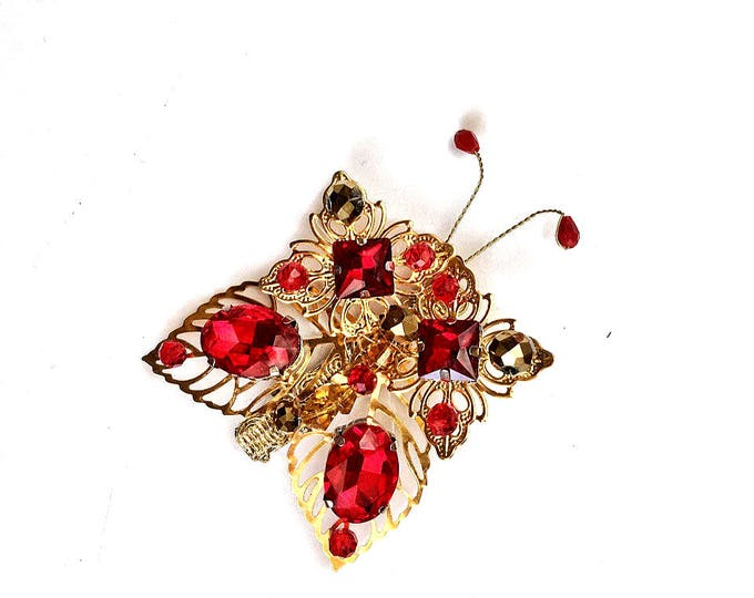 Gold Red Butterfly Wedding Rhinestone Bridal Hair Accessory Swarovski Crystal Piece clippies ornament present fascinator girls boho barrette