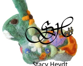 Stacy Heydt's Bohemiam Art Keepsake Bunny Needle Felted by Fun Fibers