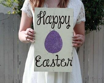 Happy Easter Glitter Egg Sign