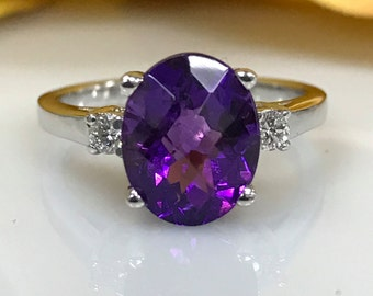 Amethyst Ring  with Genuine Diamonds set in 14k White Gold #4763