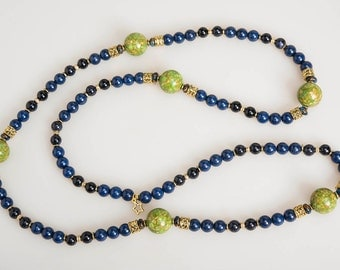 PATI - Blue, Navy, and Apple Green Beaded Necklace