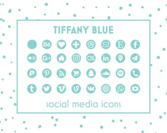 Social Media Icons, Tiffany Blue Icons, Mint Buttons, Website Icons, Blog Icons, Business Card Icons, Social Media Button, Branding Template