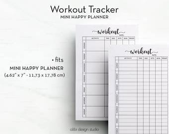 Workout Tracker, MINI Happy Planner, Workout Planner, MINI MAMBI, Workout Journal, Printable Planner, Fitness Tracker, Mambi, Health Tracker
