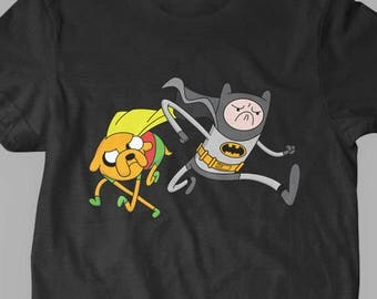 New Adventure Time Inspired Jake and Finn Batman and Robin Mash-Up Fine Cotton Jersey Kids T-Shirt Unisex Youth and Toddler Sizes