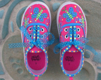 Girls Hot Pink Canvas Sneakers/Hand Painted Butterfly Sneakers/Whimsical Butterflies/Custom Butterfly Sneakers/Girls Custom Sneakers