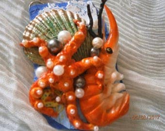 4) polymer clay necklace representing SEAFLOOR fauna, crustaceans, shells and pearls