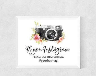 Printable Hashtag Instagram Sign, Wedding Hashtag Sign Printable, Floral Wedding Instagram Sign Capture the love Floral Wedding Digital File