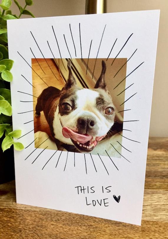 Funny love card, i love you card unique, i love yoi card finnyc fiance card, funny dog card, Boston Terrier card, i love you, i love you dog