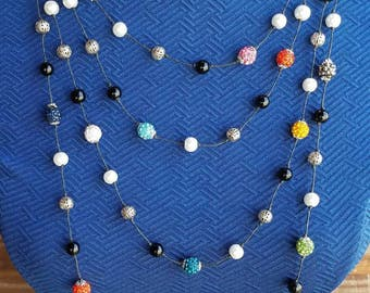 Multi Color Floating Bead Necklace