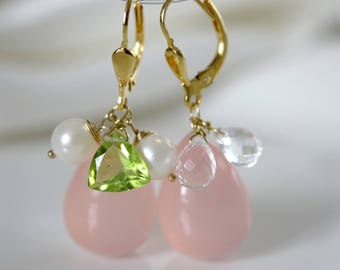 Powder decorated Klappbrisuren chalcedony gemstone earrings for your choice
