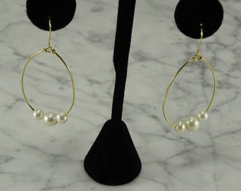 14K Pearl Yellow Gold Earrings  (pierced)