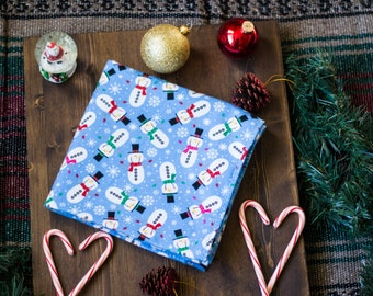 Christmas Baby Receiving Blanket, Extra Large Receiving Blanket, Snowman Receiving Blanket, Blue Receiving Blanket, Baby Blanket
