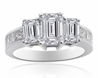 4.11 Carat Diamond Three Stone Engagement Ring 14K White Gold