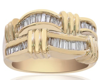 0.75 Carat Baguette Cut Channel Setting Diamond Ring 14K Yellow Gold
