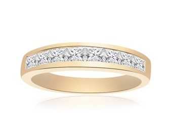 1.00 Carat Princess Cut Brilliant Diamond Wedding Band 14K Yellow Gold