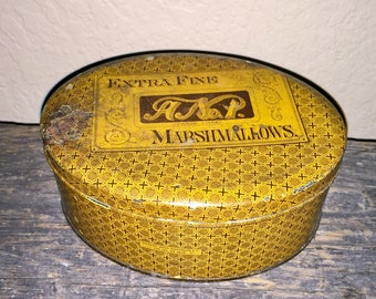 CHARMING! Rare 1879 Antique Vintage Advertising 'Extra Fine A #1 MARSHMALLOWS' Lithographed Oval Tin Decor~Somers Bros~Brooklyn NY!