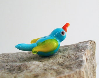 Glass Bird Bead Lampworked Flameworked Handmade Aqua with Yellow Wings