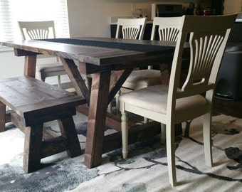 Rustic Solid Wood Farmhouse Kitchen Table