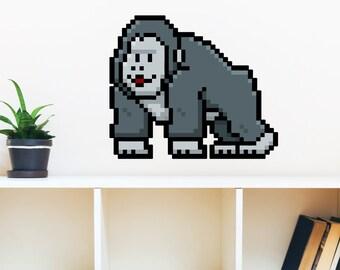 8 Bit Gorilla Wall Decal