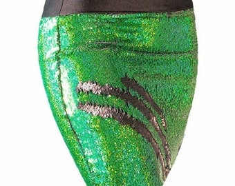 Holographic Green/Black color changing sequin pencil skirt