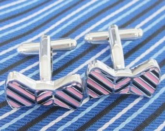 Bow Tie Cufflinks -B108 Free Gift Box**