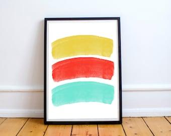 Minimalist Colourful Art Print-Wall Decor-Contemporary Print- Yellow Print-Red Print-Blue Print-Home Decor-Office-Nursery-Office Accessories
