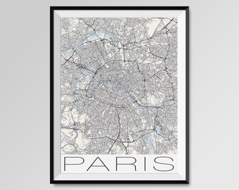 PARIS Map Print, Modern City Poster, Black and White Minimal Wall Art for the Home Decor